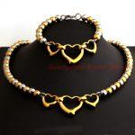 Cute Design Womens Trendy Hollow Three Heart 6/8mm Ball Beads Pure <b>Handmade</b> Chain Necklace & bracelet Set Silver Gold Xmans Gift