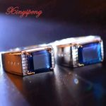 925 <b>sterling</b> <b>silver</b> with 100% natural sapphire <b>ring</b> Men's with Luxury and generous A wedding gift