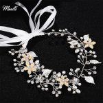 Miallo Wedding Bridal Hair Bands Rhinestone Pearl Headbands Ribbon Hair Tiaras Women Bridal Hair Vine <b>Jewelry</b> Bride Hairpieces