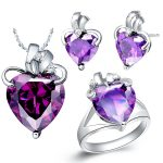 Pendant necklace <b>Earrings</b> ring suit 925 sterling <b>silver</b> set made of purple stone semi precious stones set brinco <b>silver</b>