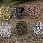 100pcs 24*31mm Flower Pad ring blank Cameo Tray,Bronze/Gold/Silver Ring setting,<b>Handmade</b> DIY Zakka <b>jewelry</b> Finding