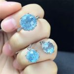 gemstone factory wholesale trendy natural blue topaz crystal adjustable ring <b>earrings</b> 925 sterling <b>silver</b> jewelry set for women