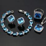 Blue Zircon Jewelry White CZ Women 925 Sterling <b>Silver</b> Jewelry Sets Earrings/Pendant/Necklace/Rings/<b>Bracelet</b> T0137