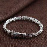925 <b>Silver</b> Big Bracelet Width 7mm Length 20.6cm Chain Vintage 100% Original S925 Thai <b>Silver</b> Bracelets for Men <b>Jewelry</b>