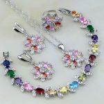925 Sterling <b>Silver</b> Jewelry Multicolor Sterling Zilver Jewelry Sets For Women Wedding Necklace/Earrings/<b>Bracelet</b>/Pendant/Ring