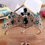 KMVEXO Green Crystal Rhinestone Tiara Princess Queen Vintage Baroque Crown for Bridal Hair Accessories 2018 Wedding Hair <b>Jewelry</b>