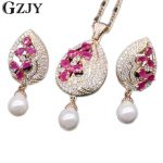 GZJY Exquisite <b>Jewelry</b> Set Waterdrop Flower Natural Red Zircon&Pearl Drop Pendant Necklace Earrings Set For Women