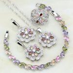 Flower Multicolor Cubic Zirconia White CZ 925 <b>Silver</b> Jewelry Sets For Women Wedding Necklace/Earrings/<b>Bracelet</b>/Pendant/Ring