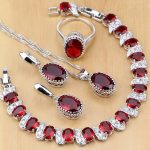 Natural 925 Sterling Silver <b>Jewelry</b> Red Birthstone Charm <b>Jewelry</b> Sets Women Earrings/Pendant/<b>Necklace</b>/Ring/Bracelets T055