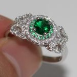2017 Top Sell <b>Handmade</b> Luxury <b>Jewelry</b> 100% Pure 925 Sterling Silver Green 5A CZ White Zirconia Women Wedding Band Pave Ring Gift
