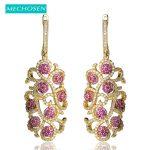MECHOSEN Exaggerated Long Drop Earrings For Women Luxury <b>Wedding</b> <b>Jewelry</b> Rhodium Plated CZ Zirconia Copper Flower Dangle Earring