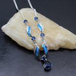 HERMOSA <b>Jewelry</b> Charming Fashion Women <b>Necklace</b> 925 Sterling Silver inlay Blue Opal <b>Necklace</b> Length 20 inch (51cm) ABDZ-012