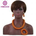 New Latest <b>Handmade</b> Orange African Wedding Bead Balls Necklace <b>Jewelry</b> Set Nigerian Beads Women <b>Jewelry</b> Set Free Shipping HX665