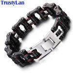 TrustyLan 16MM Wide Heavy Solid Stainless Steel Bike Bracelet Men Bicycle Motorcycle Chain Men's Bracelets Punk Rock <b>Jewelry</b>