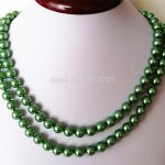 HOT! Fashion 8mm Green Ocean Shell Pearls Necklace Beads DIY Fashion <b>Jewelry</b> <b>Making</b> Design Natural Stone 36 INCH Wholesale Price