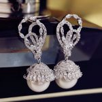 Luxury Gorgeous Popular Big Butterfly Micro Cubic Zirconia Stone Pave Pearl Long Drop Earrings Women Party <b>Wedding</b> <b>Jewelry</b>