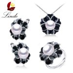 Lindo Big Flower 925 Sterling <b>Silver</b> Wedding Jewelry Sets 5A Natural Freshwater Pearl <b>Earrings</b> Necklace Rings Women 3 PCS Set
