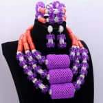 DuDo Purple <b>Silver</b> Coral Jewelry Set Big Balls Crystal Nigerian Necklace Set Women African Wedding Beads in 2018 Free Shipping