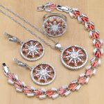 925 Sterling <b>Silver</b> Bridal Jewelry Sets Red Cubic Zirconia Stone Beads For Decoration For Women Wedding Necklace Earrings