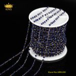 5Meters 2x3mm Lapis Blue Color Glass Chains,Tiny Glass Faceted Rondelle Beads Wire Wrapped Glass Rosary Chains <b>Supplies</b> ZJ106