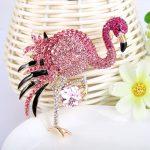 Bella <b>Fashion</b> Gold Tone Luxury Pink Enamel Flamingo Rhinestone Brooch Pins Austrian Crystal Animal Brooches For Party <b>Jewelry</b>
