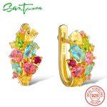 SANTUZZA <b>Silver</b> Earrings For Women 925 <b>Sterling</b> <b>Silver</b> Stud Earrings <b>Silver</b> 925 with Colorful Natural Stones brincos <b>Jewelry</b>