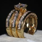 Handmade <b>Jewelry</b> 3-in-1 Engagement ring AAAAA zircon cz Yellow Gold 925 Sterling silver <b>Wedding</b> Band Ring set For women men
