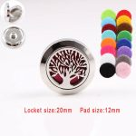 Wholesale 20mm magnetic <b>silver</b> 316L stainless steel Tree essential oil perfume diffuser locket Snap Button Jewelry Fit 18mm Snap