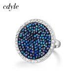 Cdyle Crystals From Swarovski Luxury Ring Austrian Rhinestone Fashion Romantic Anniversary Engagement Women <b>Jewelry</b> Blue <b>Wedding</b>