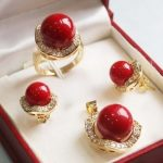 Prett Lovely Women's Wedding shipping>>Set 10mm &14mm red South sea Shell Pearl Earrings Necklace Ring silver-<b>jewelry</b>