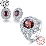 J.C Lady Luxurious Spessartine Garnet Topaz Genuine 925 Standard Sterling <b>Silver</b> Ring & <b>Earring</b> High Quality Fine Jewelry Set