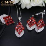 CWWZircons <b>Fashion</b> Chevron Shape Oval Red Cubic Zirconia Stone Engagement <b>Jewelry</b> Set For Women 925 Sterling Silver T002
