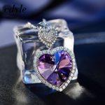 Cdyle Crystals From Swarovski Necklace Women Pendants S925 <b>Sterling</b> <b>Silver</b> <b>Jewelry</b> Blue Purple Series Heart Fashion Elegant
