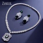 ZAKOL Brand Cluster Cubic Zircon <b>Jewelry</b> Set Luxury Earrings and Tag <b>Necklace</b> Sets For Women Wedding FSSP307