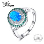 JewelryPalace Fashion 1.2ct Oval Created Opal Inlay Emerald Cocktail Ring Genuine 925 Sterling <b>Silver</b> Vintage <b>Jewelry</b> For Women