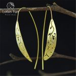 Lotus Fun Real 925 Sterling <b>Silver</b> Natural Original Handmade Fine Jewelry Vintage Ethnic Long Leaf Drop <b>Earrings</b> for Women