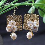 GLSEEVO Natural Fresh Water Baroque Pearl Women's Drop Earrings Geometric Dangle Earrings <b>Jewelry</b> Oorbellen Voor Vrouwen GE0316