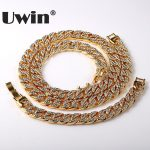 Uwin Super Value Thick Miami Cuban Link Necklace&<b>Bracelet</b> Set Iced Out Rhinestones Gold&<b>Silver</b> 15mm Jewelry Sets Drop Shipping