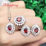 925 <b>silver</b> inlaid 100% natural garnet jewelry suit Ms. Ring necklace pendant <b>earrings</b> fashion gift