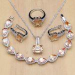 Square 925 <b>Silver</b> Bridal Jewelry Champagne Zircon Jewelry Sets For Women Earrings/Pendant/Necklace/Rings/<b>Bracelet</b>