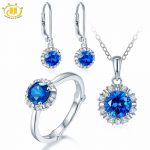Hutang Natural September Birthstone Created Sapphire Solid 925 <b>Sterling</b> <b>Silver</b> Ring Pendant Earrings Gemstone <b>Jewelry</b> Sets Gift