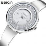 WEIQIN Luxury Watch Women <b>Silver</b> Crystal <b>Bracelet</b> Watch Quartz Ladies Watch Alloy wrist watches for women relojes mujer 2018 New