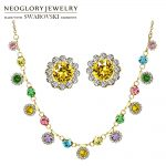 Neoglory MADE WITH SWAROVSKI ELEMENTS Rhinestone <b>Jewelry</b> Set Geometric Flower Stylish Colorful Romantic Gift <b>Necklace</b> & Earrings