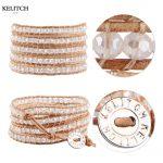 KELITCH Bright Crystal Beads 5 Wrap Leather Bracelets For Women <b>Jewelry</b> <b>Handmade</b> Adjustable Customized LOGO Drop Shipping