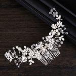 Dower me Charming White Flower Hair Comb Crystal Bridal Headpiece <b>Wedding</b> Prom Hair Vine Accessories Women <b>Jewelry</b>