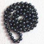 Natural black pearl beads 7-8mm hot sale diy fashion <b>jewelry</b> <b>making</b> necklace 25″B729