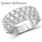 Wide <b>Silver</b> <b>Ring</b> 0.1ct 3mm Moissanite Lab Grown Diamond Engagement Wedding <b>Ring</b> Platinum Plated 925 <b>Sterling</b> <b>Silver</b>