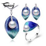 FENASY Pearl Jewelry sets 925 Sterling <b>Silver</b> stud <b>earrings</b>,natural Pearl leaf necklace for women love Cloisonne <b>earrings</b> ring