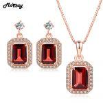 MoBuy Garnet Gemstone 2pcs Jewelry Sets 100% 925 Sterling <b>Silver</b> For Women Wedding Gift Fine Jewelry V011EN