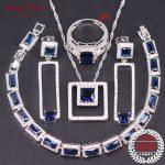 Blue Stone <b>Silver</b> 925 Wedding Jewelry Necklace Earrings Ring Pendants <b>Bracelet</b> Sets AAA Cubic Zirconia Jewelry Sets For Women